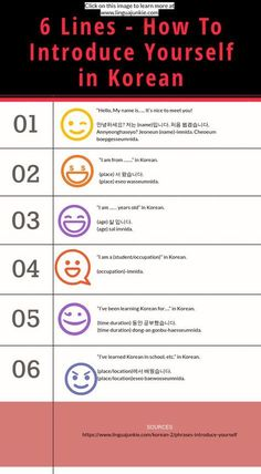 Korean Phrases: How To Introduce Yourself in Korean Korean Phrases: How To Introduce Yourself in Korean,Koreanische sprache learn korean www. Korean Words Learning, Korean Language Learning, Learn A New Language, Learning Korean For Beginners, Korean Phrases, Korean Quotes, The Words, Learn Korean Alphabet, Learn Hangul