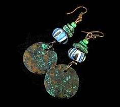 Rustic copper earrings with Verdigris Patina by MarianneMerceria