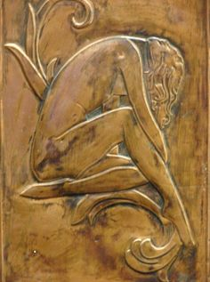 Vintage Art Deco 'Hammered' Copper Relief Nude Woman Artwork 'Painting'