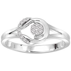 10k White Gold Love Knot Diamond Ring (1/10 cttw, I-J Color, I1-I2 Clarity), Size 8