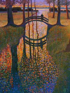 Bridge, Ton Dubbeldam -Dutch painter, use impressionist and pointillist techniques (1957-)