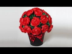 """▶ Cupcake Rose Bouquet for Valentine's Day - YouTube   Combine some techniques from this and some from """"How to make a Cupcake Flower Boquet"""" and you should get the perfect one!"""