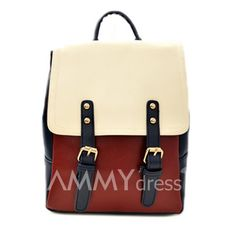$14.39 Preppy Style Women's Satchel With Rivets Buckle and Color Block Design