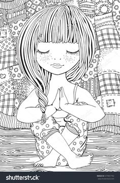 Cute girl in yoga pose. Adult coloring page. Quilt blanket, wooden floor. Black and white vector illustration.