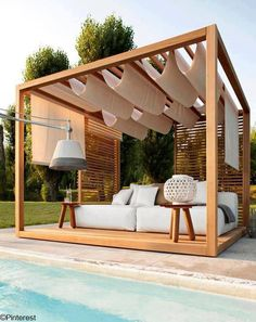 The pergola kits are the easiest and quickest way to build a garden pergola. There are lots of do it yourself pergola kits available to you so that anyone could easily put them together to construct a new structure at their backyard. Pergola Attached To House, Deck With Pergola, Outdoor Pergola, Backyard Pergola, Pergola Shade, Pergola Kits, Outdoor Rooms, Outdoor Living, Outdoor Decor