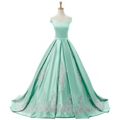Sunvary 2016 Cap Sleeves Ball Gown Appliques Quinceanera Prom Dresses... ($220) ❤ liked on Polyvore featuring dresses, gowns, quinceanera prom dresses, green evening gown, green dress, green evening dresses and reception gowns