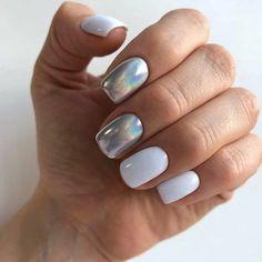 Silver and milky nails Colorful Nail Designs, Nail Art Designs, Cute Nails, Pretty Nails, Milky Nails, Holographic Nails, Nagel Gel, Stylish Nails, Perfect Nails
