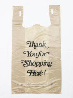 Plastic Bag- Heavy Duty 'Thank You' Italic Print Beige T-Shirt Bag 18 mic - 600 bags/case