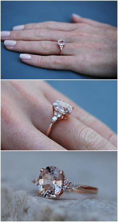 b6c6890eaf6b9 Moody Engagement Ring. 3ct Color change sapphire ring. Rose gold engagement  ring Campari ring