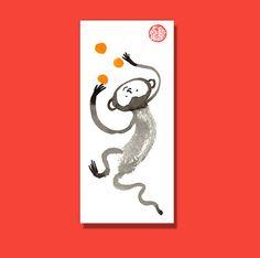 Zen Monkey, Chinese Zodiac, Year of the Monkey Original Sumi Zen Painting, zen decor zen illustration, childrens room art, taoist feng shui