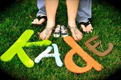 Baby Announcement - Couples' feet + baby's shoes & name ; I love this idea! Especially the name being added to the mix - cute! - kayden