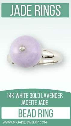 Lavender jade ball ring with 14K white gold center set in simple 14K white gold ring. Note: The lavender jade ball has a slight internal flaw that does not affect the beauty or structure of the stone. Finger size 7. Use discount code INSTA10JORDAN at checkout!
