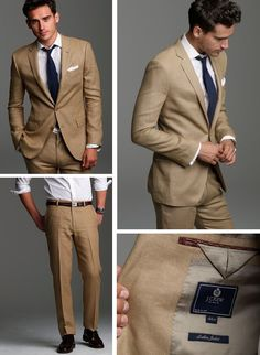 Linen suit in khaki for the warm weather