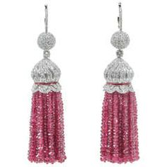 Two Hundred Carat Burma Ruby Beads Diamond Tassel Earrings | From a unique collection of vintage dangle earrings at https://www.1stdibs.com/jewelry/earrings/dangle-earrings/