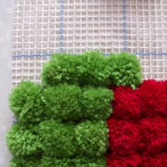 How to make the pompom rug (ignore the watermelon rug--I'd do just a round, multi-colored rug!)
