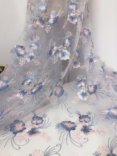 Exquisite Floral Embroidered Tulle Fabric Tulle Mesh Lace   Etsy Diy Wedding Dress, Wedding Fabric, Bridal Dresses, Wedding Gowns, Butterfly Embroidery, Embroidered Flowers, Floral Embroidery, Tulle Fabric, Vintage Textiles