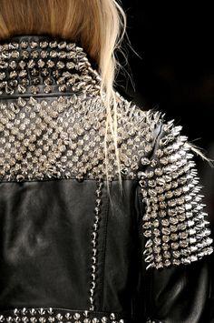 Burberry Prorsum black, studded, leather, biker jacket.    $4,196.50