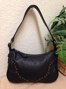 Wilsons Leather Black Pebble Gold Studded Shoulder Handbag Satchel Bag  Small VGC   eBay 9c45998181