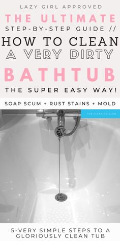 Is your bathtub dirty and in need of some serious cleaning hacks and tips? Discover how t clean your dirty bathtub, remove soap scum, mold stains and even hard water spots to reveal a beautifully white tub. Without breaking a sweat! Bathroom Cleaning Hacks, Household Cleaning Tips, Cleaning Wipes, Cleaning A Bathtub, Cleaning Checklist, Remove Water Stains, Hard Water Stains, Clean Bathtub, How To Clean Tub