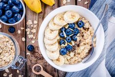 Benefits of chia seeds in an oatmeal with blueberries and nuts.
