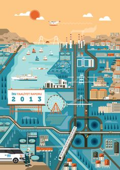 Izmit report 2013 - Cover illustration by Arunas Kacinskas, via Behance Travel Illustration, Flat Illustration, Graphic Design Illustration, Digital Illustration, Map Layout, City Landscape, Map Design, Illustrations And Posters, Map Art