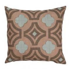 A beautiful pair of linen quatrefoil applique on burlap throw pillows in putty and aquamarine, 20 x 20, down fill.