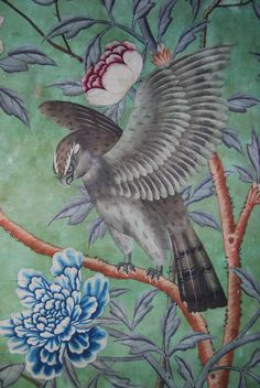 Detail of a bird of prey in the painted bird-and-flower wallpaper at Erddig, probably hung in the NT 1153114 ©National Trust/Andrew Bush Landscape Wallpaper, Wallpaper, Illustration, Vintage Birds, Painting, Chinese Wallpaper, Art, Scenic Wallpaper, Flower Wallpaper