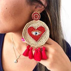 No te pierdas este artículo de mi tienda de Stud evil eye red heart -lightweight earring -handmade -Earring made by hand-crochet gold tread -one of a kind jewelry exclusive Crochet Mandala Pattern, Hand Crochet, Handmade Jewelry Designs, Earrings Handmade, Fabric Jewelry, Beaded Jewelry, Statement Earrings, Diamond Earrings, Crochet Earrings