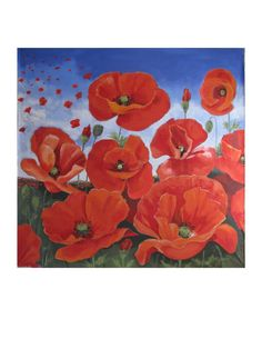 Gone with the Wind Red poppies flying in the by Artephemere, $20.00