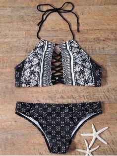 Printed Cutout High Neck Bikinis Swimsuit - Swimsuits - Ideas of Swimsuits Bathing Suits For Teens, Summer Bathing Suits, Cute Bathing Suits, Swim Suits Women, Swim Suits Bikinis, Bikini Modells, Black Bikini, Bikini Beach, Sexy Bikini