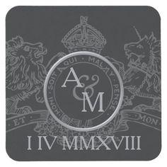 #Black Lion Unicorn Crown Emblem Save The Date Square Paper Coaster - #WeddingCoasters #Wedding #Coasters Wedding Coasters