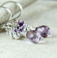Amethyst  Earrings   Sterling Silver  Cluster Earrings   by hildes, $39.00