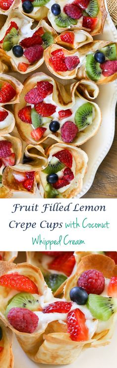 Muffin tin lemon crepes filled with homemade coconut whipped cream and fresh fruit. Serve for breakfast, brunch or dessert. Plus Dr. Greene's Ideal Mattress Review. #ad
