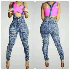 Very stylish denim washed jumpsuit featuring a high waist button style and distressed design. Sexy Outfits, Pretty Outfits, Casual Outfits, Cute Outfits, Dope Fashion, Fashion Wear, Fashion Outfits, Denim Jumpsuit, Overalls