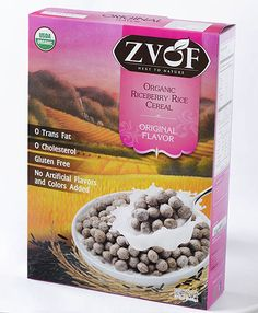 Zvof Organic Riceberry Rice Cereal : Original Flavor  GLUTEN-FREE LOW SUGAR LEAST PROCESSED CEREAL  HIGH CONTENT OF ANTIOXIDANTS AND NUTRIENT  BUT LOW GLYCEMIC INDEX made with whole organic Jasmine rice grain available in both USDA Organic and Eu Organic