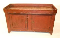 Fine 19th c. dry sink with original red paint and
