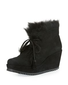 Fidela+Shearling+Wedge+Bootie,+Black+by+Pedro+Garcia+at+Neiman+Marcus.