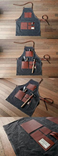 TRVR Gentleman's Apron Charcoal Waxed Canvas, Genuine Leather, Useful & Suitable Pocket apron Adjustable strap. Leather Apron, Sewing Leather, Leather Pouch, Leather Craft, Tool Apron, Apron Diy, Clothes Words, Barber Apron, Work Aprons