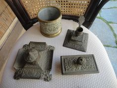 Vintage Brass inkwell stand blotter candle holder and by maw0707, $225.00
