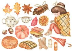 Watercolor On Wood, Watercolor Pictures, Floral Watercolor, Watercolor Stickers, Autumn Illustration, Watercolor Illustration, Autumn Art, Autumn Cozy, Fall Clip Art