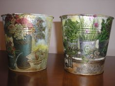 decoupage metallic cans