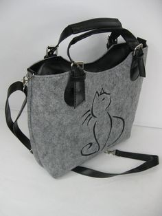FELT BAG, Felted purse, Felt Cat bag Elegant and stylish bag made from high quality felt and faux leather with embroidery. The bag is large and lightweight - perfect for carrying everything in your everyday life. Includes internal pockets for mobile phone and other small items. *