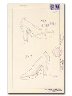 Invisible In Salvatore Ferragamo designed an upper made of one continuous thread, a transparent strand of nylon with a wedge or F-shaped heel. With this shoe, Ferragamo won the Neiman Marcus Award, the Oscar of Fashion. Mail Art, Shoe Collection, Salvatore Ferragamo, Glove, High Heel, Neiman Marcus, Wedge, Arch, Collage