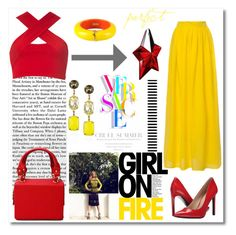 """""""Girl On Fire"""" by meldin ❤ liked on Polyvore featuring Motel, Nine West, Lulu Frost, Versace, Thierry Mugler and Dsquared2"""