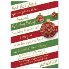 This modern red, white and green candy cane striped holiday party invite with faux gold glitter edges on the stripes has three round red and gold hanging Christmas tree ornaments on it in various sizes and with different gold patterns that include swirls, Hanging Christmas Tree, Christmas Tree Ornaments, Winter Holidays, Holidays And Events, Holiday Party Invitations, Gold Ornaments, Gold Pattern, Gold Stripes, Candy Cane