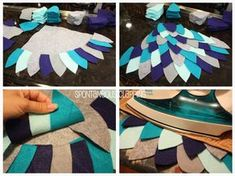 #owl #wings tutorial using felt and hem tape. Attach to a hoodie for #halloween #costume