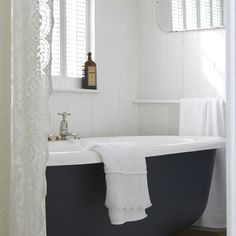 Black clawfoot tub with white decorating before and after home design Grey Bathrooms, White Bathroom, Beautiful Bathrooms, Small Bathroom, White Shower, Tranquil Bathroom, Feminine Bathroom, Farmhouse Bathrooms, Bad Inspiration