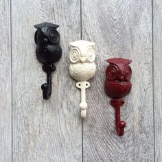 ANY COLOR Cast Iron Owl Wall Hook // Shabby Chic // by KINGFOUR
