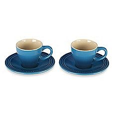 image of Le Creuset® Stoneware Espresso Cups and Saucers (Set of 2)