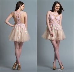 Princess New Sheer Crew Neck Short Cocktail Dresses Romantic Tulle with Applique Sleeveless Mini A-line Illusion Backless Homecoming Dress Online with $88.12/Piece on Marrysa's Store | DHgate.com